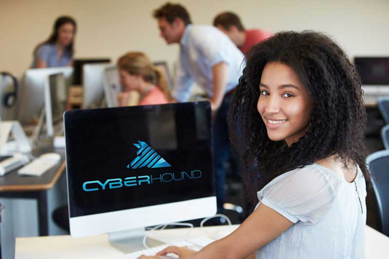 Student at computer with CyberHound